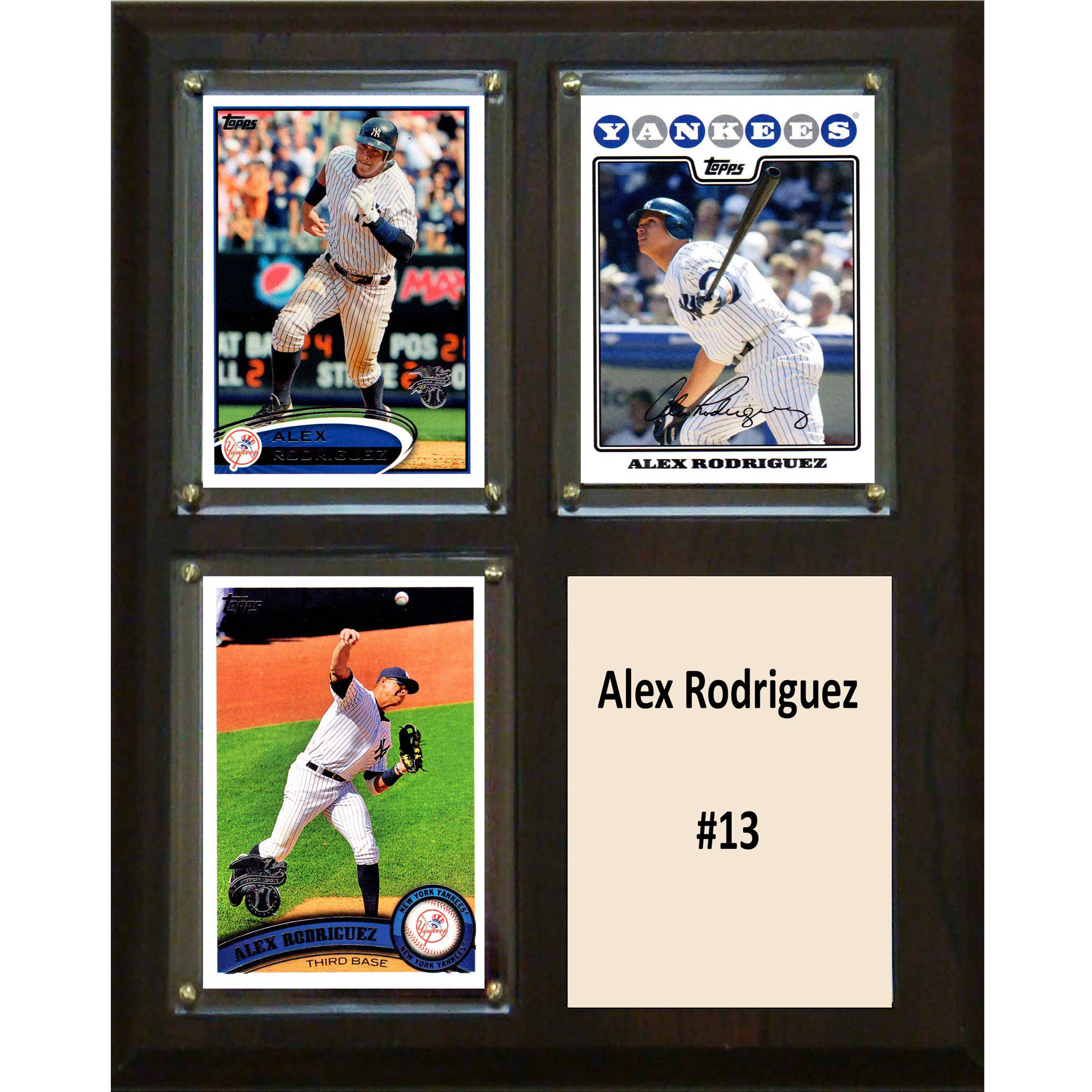 C&I Collectables MLB 8x10 Alex Rodriguez New York Yankees 3-Card Plaque