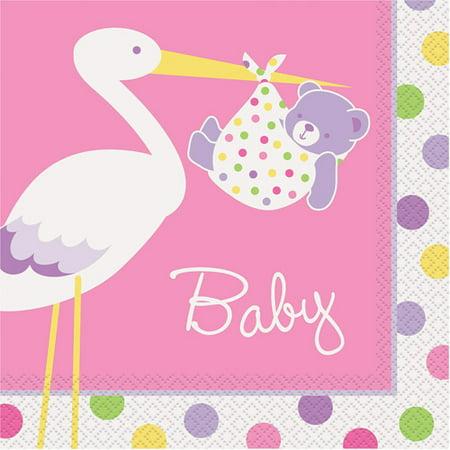 Pink Stork Baby Shower Luncheon Napkins Walmart
