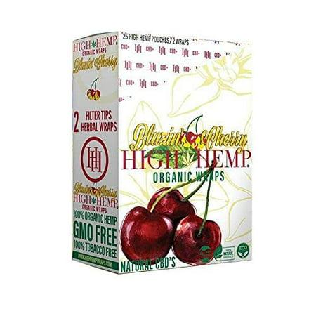 High Hemp 25 Count Blazin Cherry of Organic Wraps - Tobacco Free - Vegan -