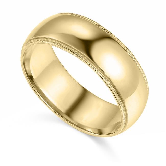 Precious Stars BMC-070-9 7 mm 14K Yellow Gold Comfort-fit Milgrain & Polished Wedding Band - Size 9 - image 1 of 1