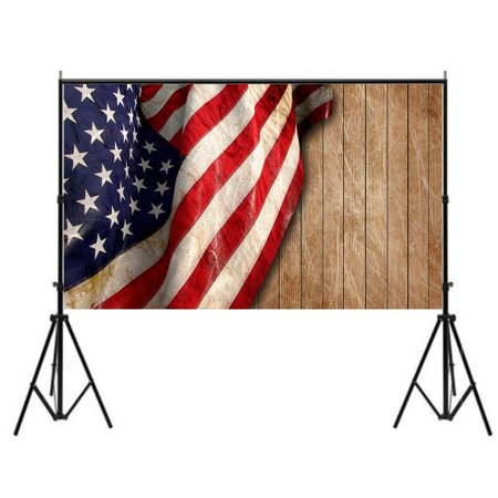 GreenDecor Polyster 7x5ft American Independence Day Theme Wooden Wall Free Photographic Background US Flag Photo Studio Backdrops Free Green Background