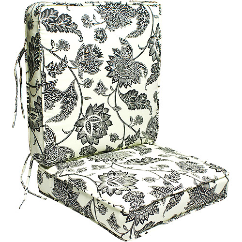 Marvelous Outdoor Deep Seating Replacement Seat Cushion, Cream And Black Print