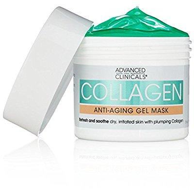 advanced clinicals collagen anti-aging gel mask with coconut oil and rosewater. plumping mask for wrinkles, fine lines. supersize - Owl Masks