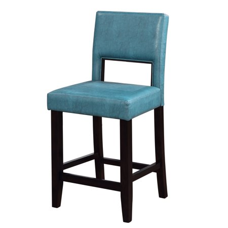 Linon Vega faux leather 24u0022 Counter Stool - Blue