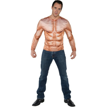 Photo-Real Muscle Padded Shirt Adult Halloween Costume - The Real Origin Of Halloween