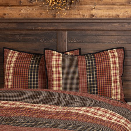 Rust Red Rustic & Lodge Bedding Bannack Cotton Hand Quilted Striped Standard Sham (Ticking Stripe Standard Sham)