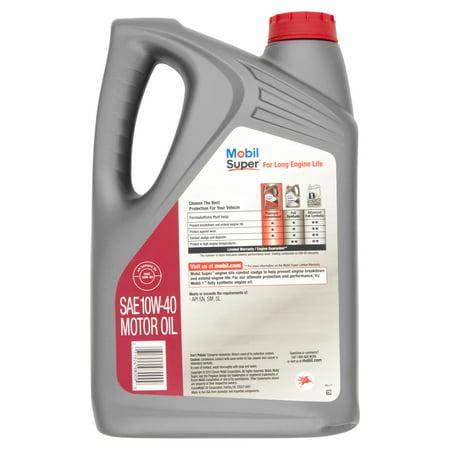 Mobil super premium 10w 40 motor oil 5 qts best motor oil for Used motor oil disposal walmart