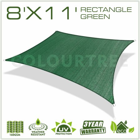 ColourTree 8' x 11' Sun Shade Sail Canopy  Rectangle Green - Commercial Standard Heavy Duty - 160 GSM - 4 Years Warranty
