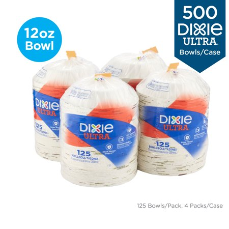 Dixie Ultra Heavy-Weight 12 oz. Paper Bowl, SXB12WS, (125 Bowls Per Pack, 4 Packs Per Case)