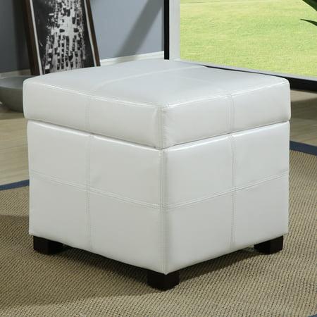 Modus Furniture Urban Seating Faux Leather Storage Ottoman In White