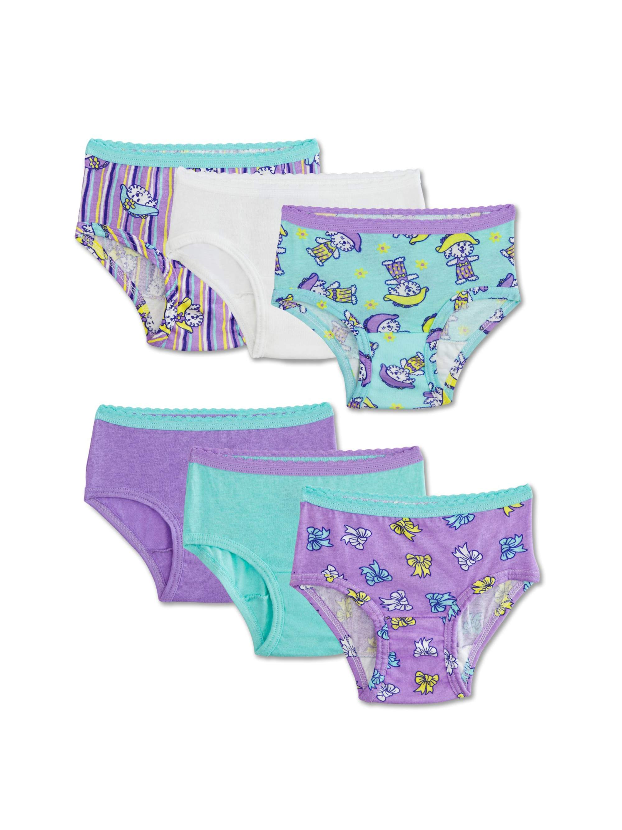 Fruit of the Loom Assorted Cotton Briefs, 6 Pack (Toddler Girl)