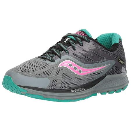Saucony Women's Ride 10 GTX Running Shoe, Grey Pink, 9 B US