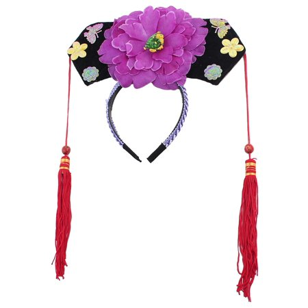 Unique BargainsFloral Decor Oriental Chinese Princess Hairband Hat Headdress Headband - Chinese Hats