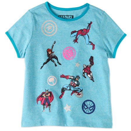 Marvel Avengers Girls' Hero Poses Tee - Marvel Heroes Womens