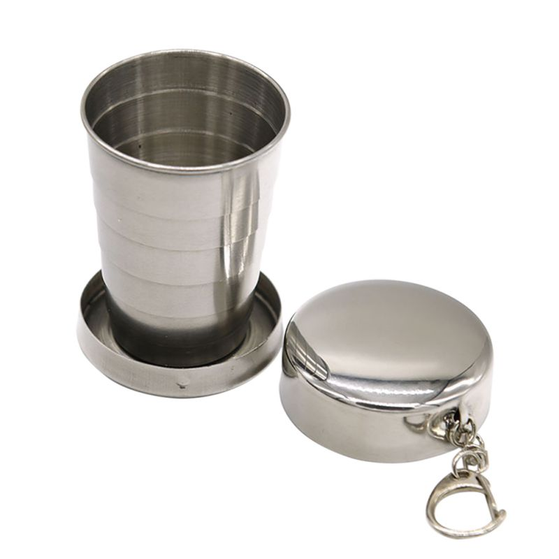 Travel Stainless Steel Collapsible Cup Outdoor Camping Portable Folding Cup by