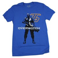 Overwatch Mens T-Shirt - Soldier 76 Standing Next to 76 Image (Medium)