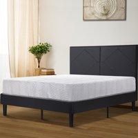 """GranRest 14"""" Dura Metal Faux Leather Platform Bed Frame, Full"""