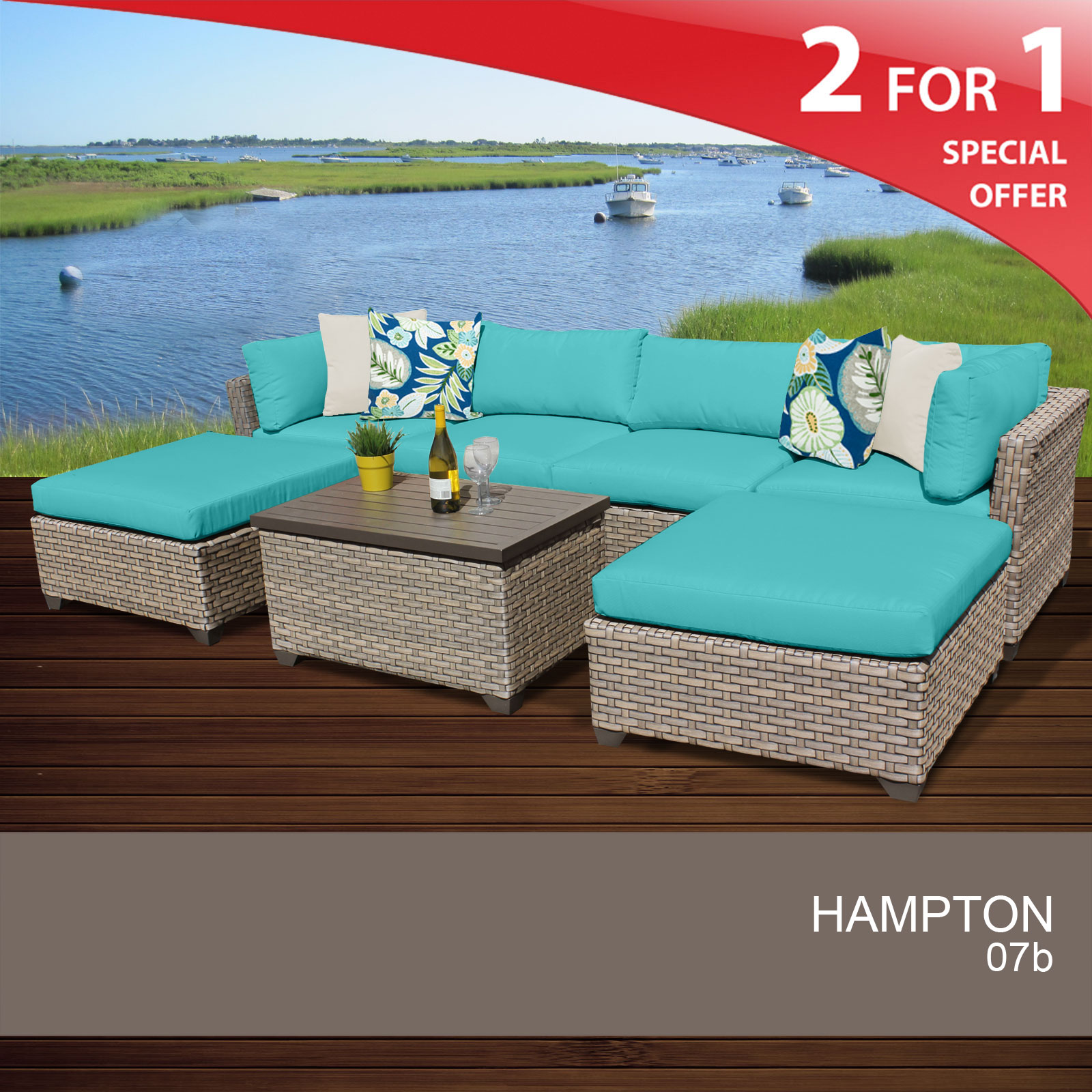 Hampton 7 Piece Outdoor Wicker Patio Furniture Set 07b Walmart