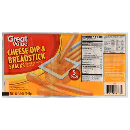 (4 Pack) Great Value Cheese Dip & Breadsticks Snacks, 5 oz, 5 Count