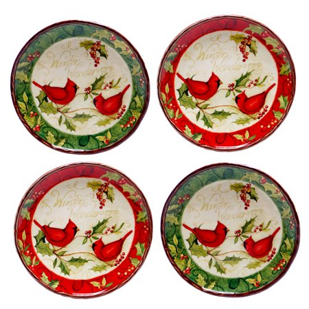 Certified international winter wonder canape plate 4 piece for Canape plate sets