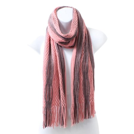 Mixed Pattern Striped Two Tone Open Knit Oblong Winter Scarf with Fringe - Pink Mauve (Black And Gray Striped Scarf)