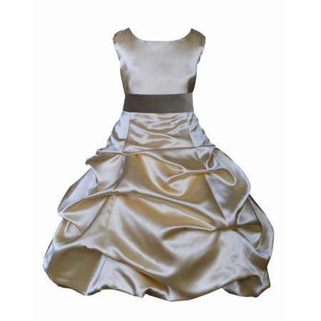 Ekidsbridal Formal Satin Gold Flower Girl Dress Christmas Bridesmaid Wedding Pageant Toddler Recital Easter Holiday Communion Birthday Baptism Occasions 2 4 6 8 10 12 14 16 806s mercury grey size 6](Gold Greek Dress)