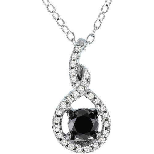 1/2 Carat T.W. Black and White Diamond Black-Plated Sterling Silver Fashion Pendant (4.5 mm)
