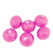 "6ct Bubblegum Pink Transparent Shatterproof Hammered Disco Ball Christmas Ornaments 2.5"" (60mm)"