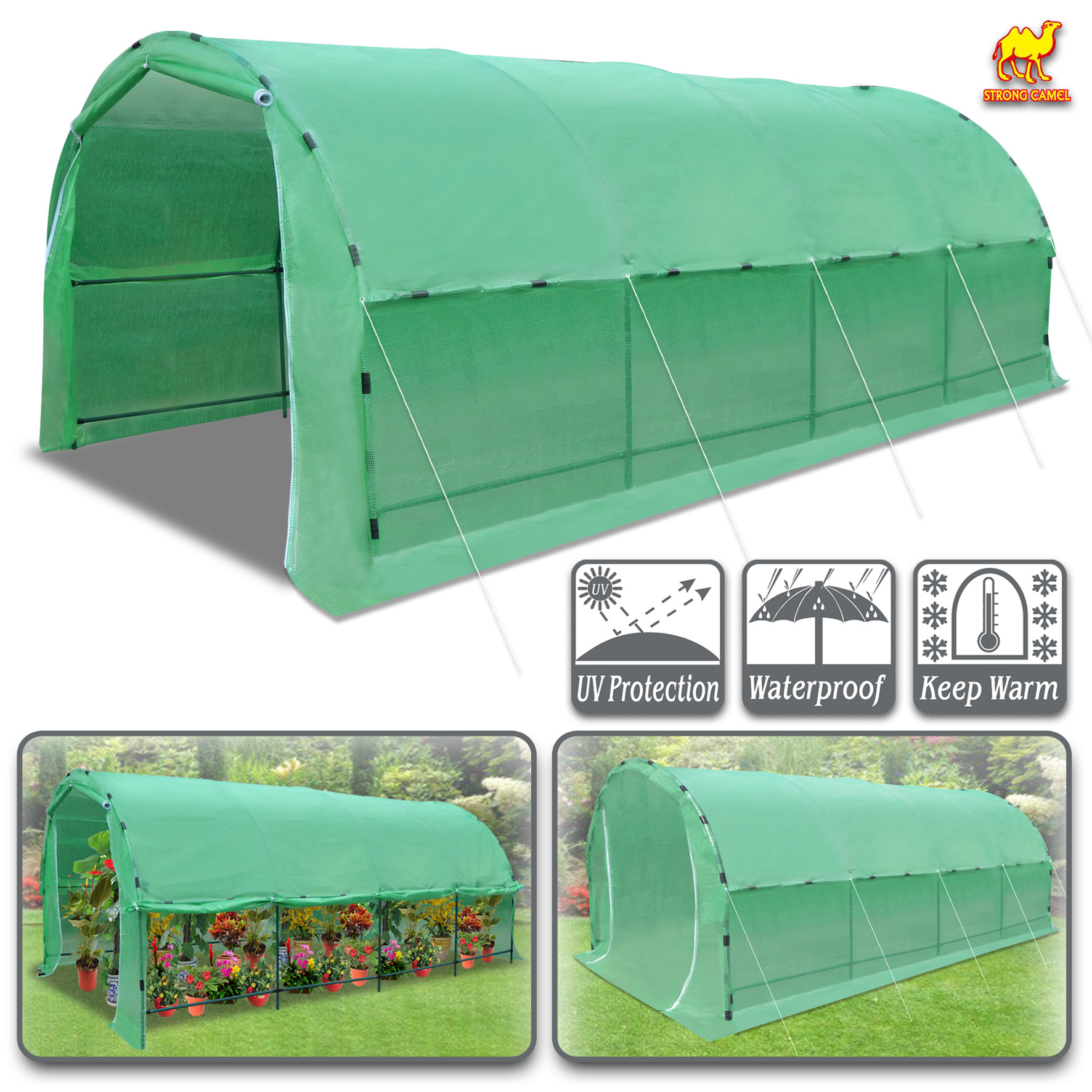 Strong Camel Large Portable Greenhouse Heavy Duty 20' X10' X 7' Walk In Outdoor Plant Gardening Hot Green House with ABS Snap Clamp