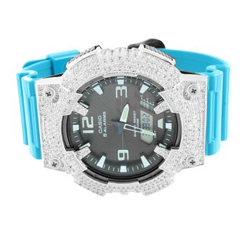 Mens Solar Powered Casio Watch AQS810W-7A Blue Silicone Band Water Resistant New
