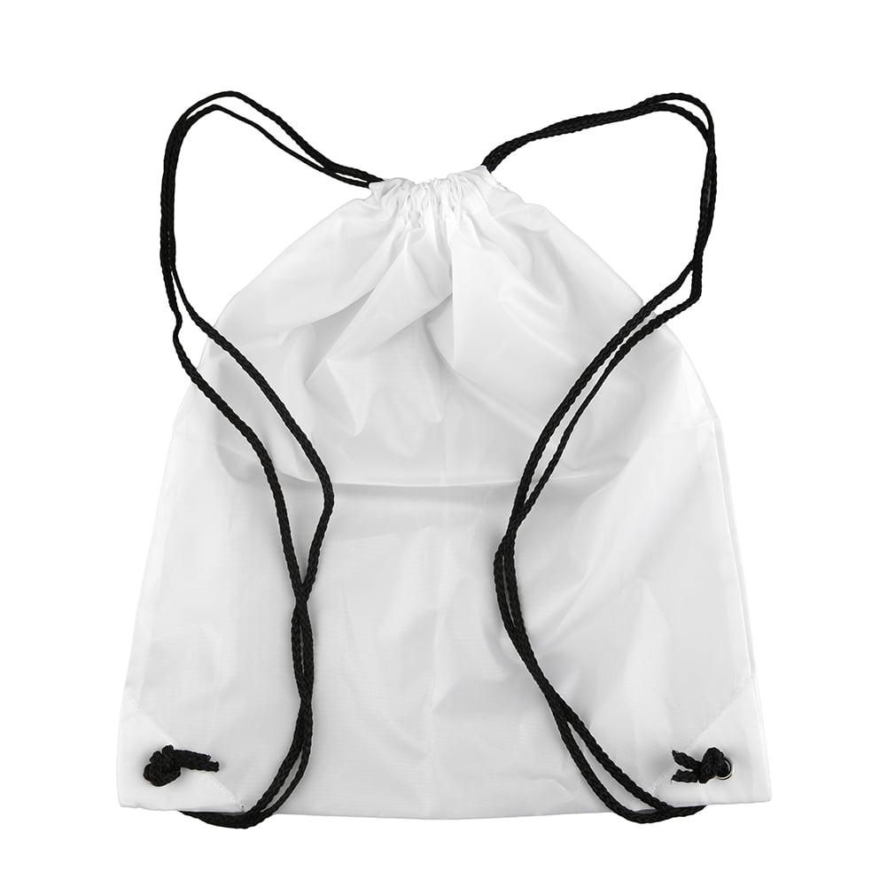 Black Classic Waterproof Strong Nylon Cord Carry Handles Premium School Drawstring Duffle Softback Bag Sport Gym Swim... by