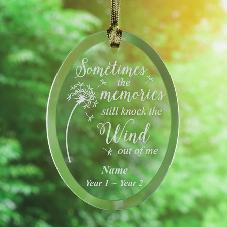 Personalized Knock the Wind Memorial Glass Christmas Tree Ornament Art Glass Christmas Tree Ornament