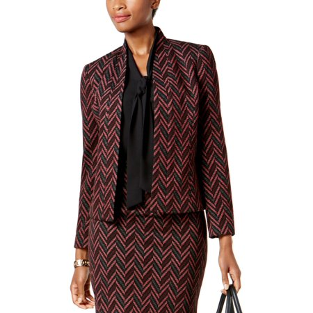 KASPER Womens Burgundy Herringbone Jacquard Blazer Wear To Work Jacket  Size: 4