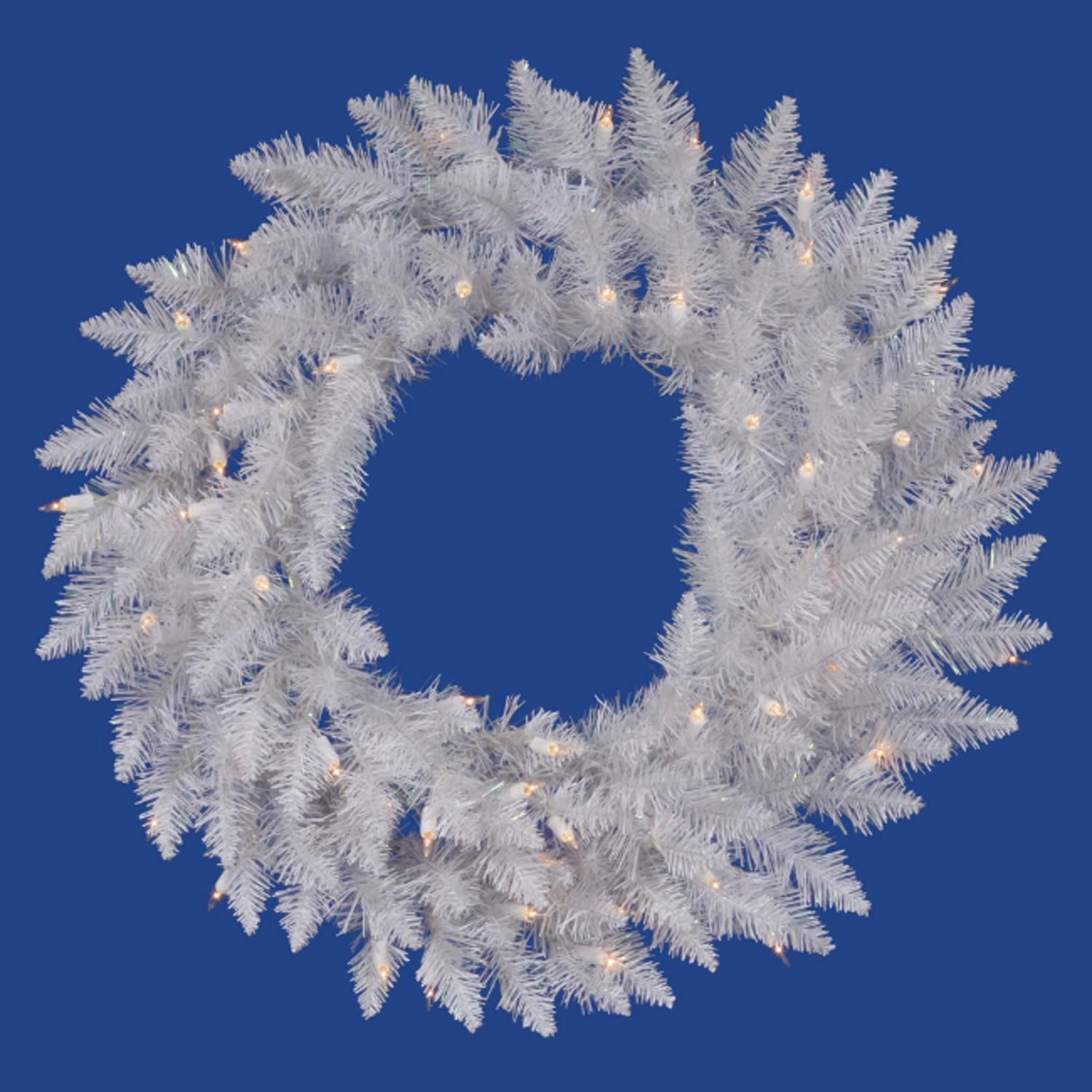"24"" Pre-Lit Sparkle White Spruce Artificial Christmas Wreath - Clear Lights"