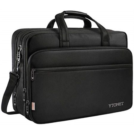 Expandable Organizer Computer Brief (17in Laptop Shoulder Bag, Expandable Travel Briefcase with Organizer, Water Resistant Business Messenger Briefcases for Men and)