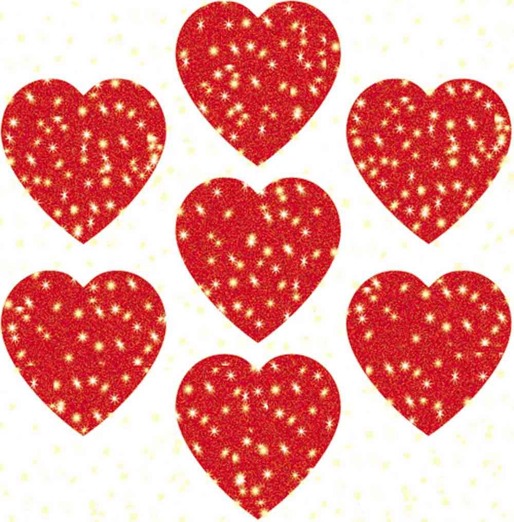 DAZZLE STICKERS HEARTS RED 75-PK