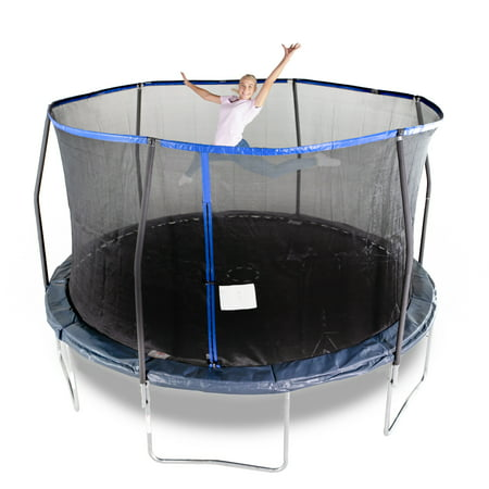 Bounce Pro 14-Foot Trampoline, with Enclosure, Midnight Blue - Bouncy Balls Bulk