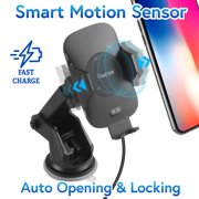Insten Wireless Cell Phone Car Charger Mount Motion Sensor Dashboard Windshield Air Vent with Wireless Charging Pad for iPhone 11 / 11 Pro / 11 Pro Max XS X XR 8 Plus 8 Samsung Galaxy S10 S10e S9 S8