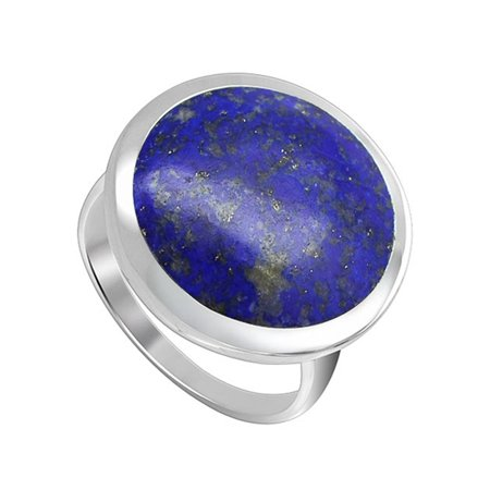 - Gem Avenue 925 Sterling Silver Round Shape Blue Color Lapis Lazuli Ring
