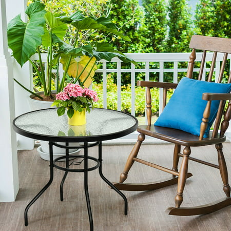 Stupendous 31 5 Patio Round Table Tempered Glass Steel Frame Outdoor Pool Yard Beutiful Home Inspiration Truamahrainfo