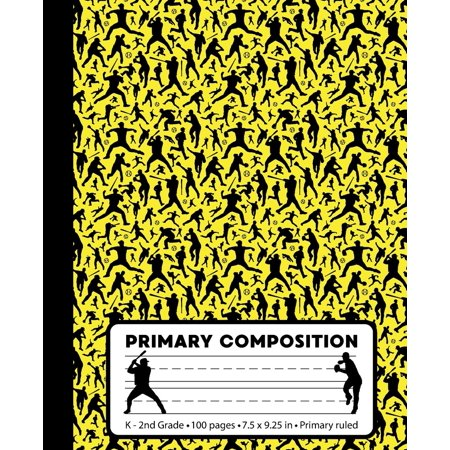Primary Composition: Baseball Player Yellow Marble Composition Book for Boys or Girls K-2. Sports Notebook Handwriting Paper. Primary Ruled - Middle Dotted Guide Lines. 100 Pages, 7.5 X 9.25 Inches