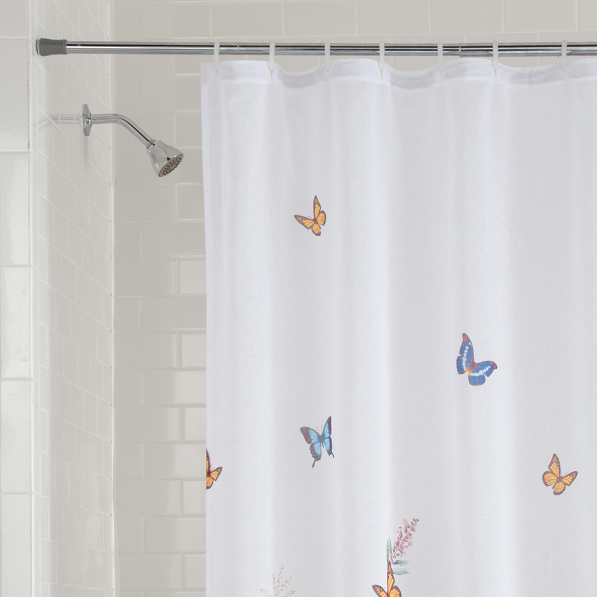 Butterfly Fabric Bathroom Bath Shower Curtain Blue Gold White