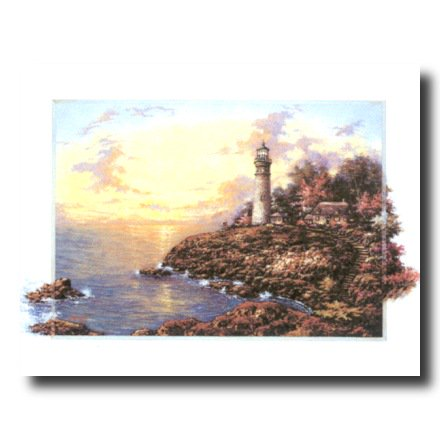 Lighthouse Lake Cottage Beach Wall Picture Art Print ()
