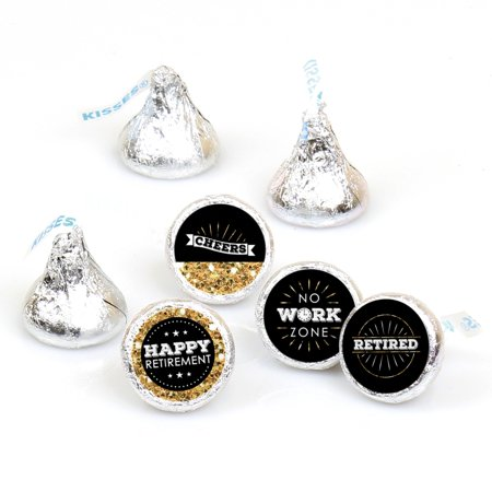 Happy Retirement - Retirement Party Round Candy Sticker Favors - Labels Fit Hershey's Kisses (1 sheet of 108)