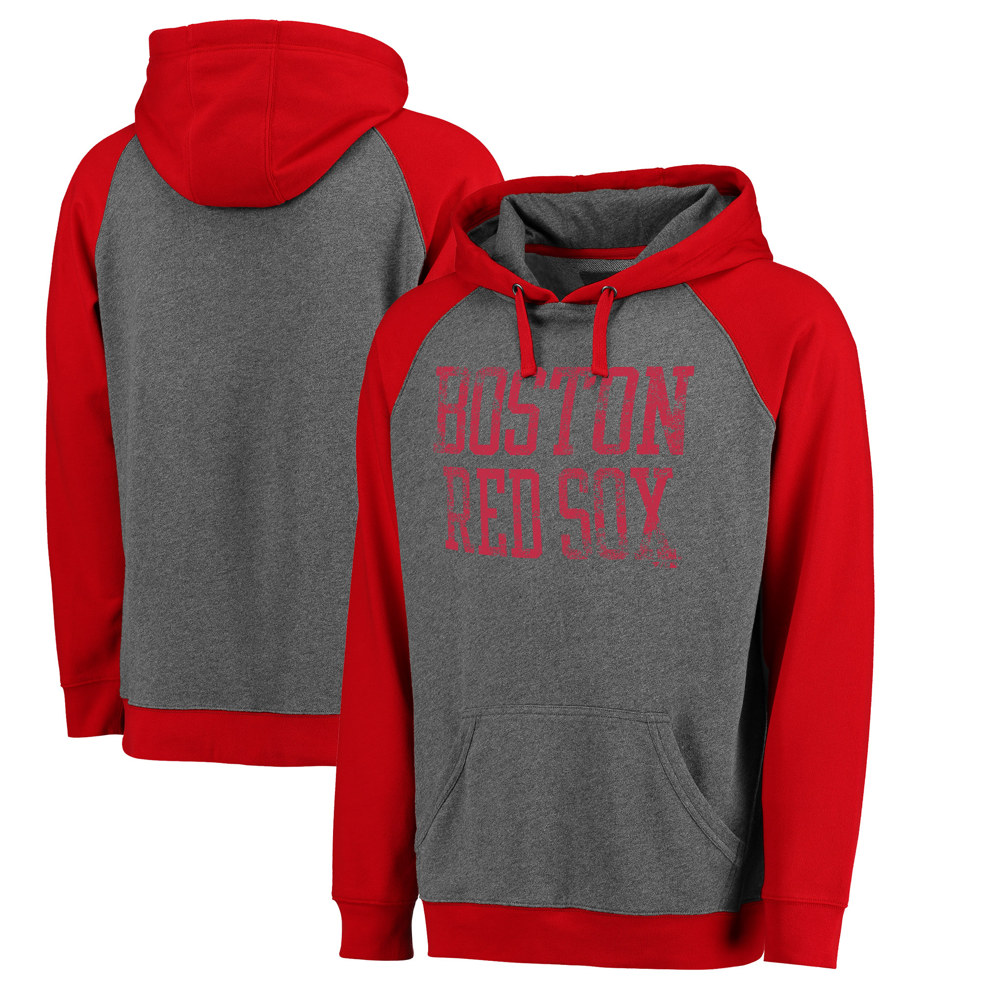 Boston Red Sox Fanatics Branded Straight Out Two-Tone Pullover Hoodie - Gray/Red