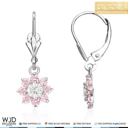 14K White Gold Diamond And Pink Tourmaline Flower Dangle Leverback Earrings