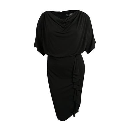 Jessica Howard Women\'s Plus Size Draped Ruffle Blouson Dress (20W, Black)