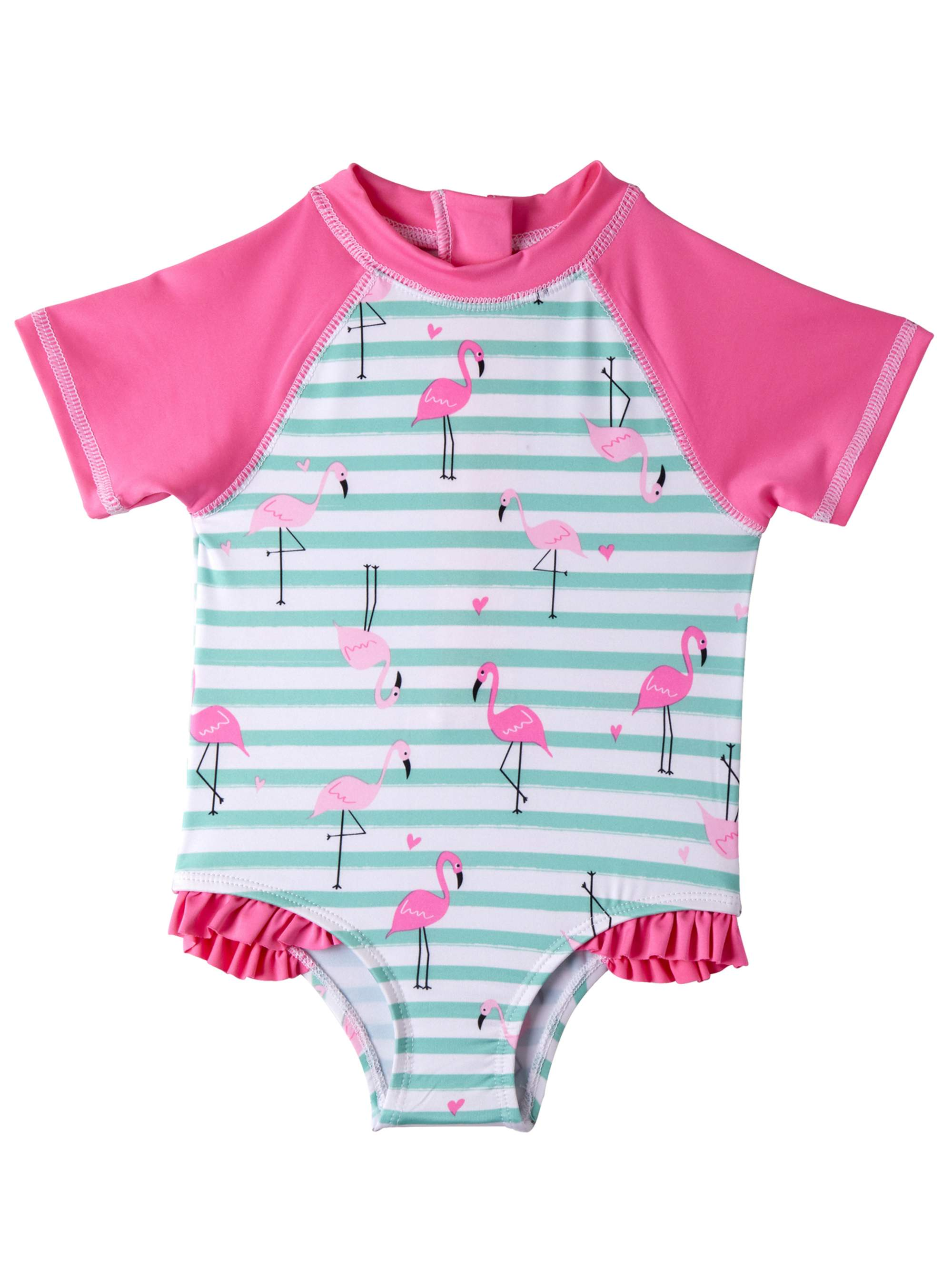 Wippette Baby Girls Swimwear Newborn//Infant One Piece Rash Guard Swimsuit with Sun Protection UPF 50+