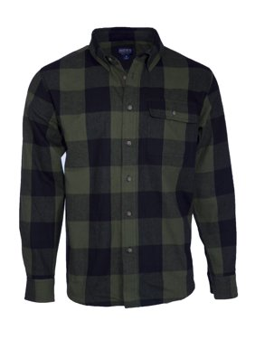 Smith's Workwear Long Sleeve Buffalo Plaid one pocket Flannel Button-up Shirt