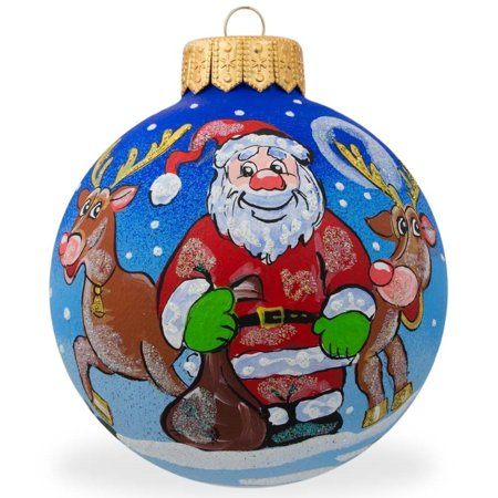 BestPysanky Santa and Reindeer Glass Ball Christmas Ornament 3.25 Inches Glass Santa Head Ornament